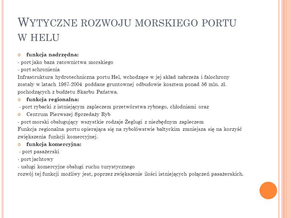 W YTYCZNE ROZWOJU MORSKIEGO PORTU W HELU funkcja nadrzędna: - port jako baza ratownictwa morskiego - port schronienia Infrastruktura hydrotechniczna portu Hel, wchodzące w jej skład nabrzeża i falochrony zostały w latach 1987-2004 poddane gruntownej odbudowie kosztem ponad 56 mln.