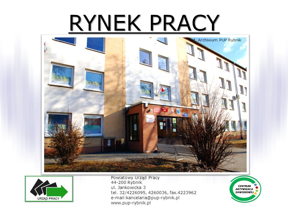RYNEK PRACY Powiatowy Urząd Pracy 44-200 Rybnik ul. Jankowicka 3 tel. 32/4226095, 4260036, fax.4223962 e-mail:kancelaria@pup-rybnik.pl www.pup-rybnik.