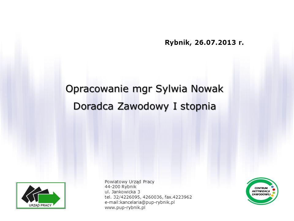 Opracowanie mgr Sylwia Nowak Doradca Zawodowy I stopnia Powiatowy Urząd Pracy 44-200 Rybnik ul. Jankowicka 3 tel. 32/4226095, 4260036, fax.4223962 e-m