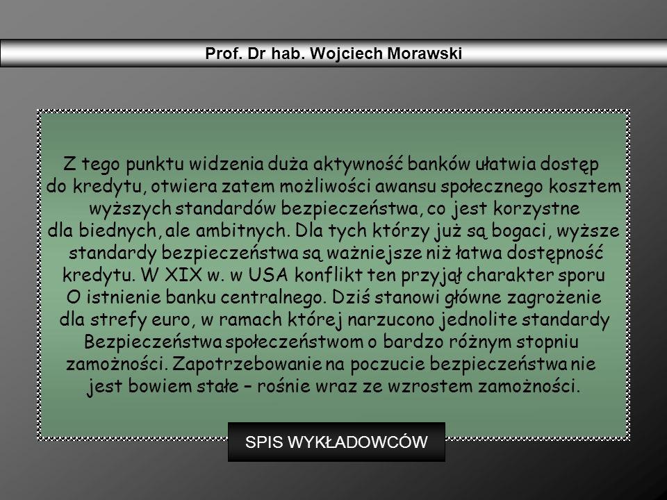 Prof. Dr hab. Wojciech Morawski Z tego punktu widzenia duża aktywność banków ułatwia dostęp do kredytu, otwiera zatem możliwości awansu społecznego ko