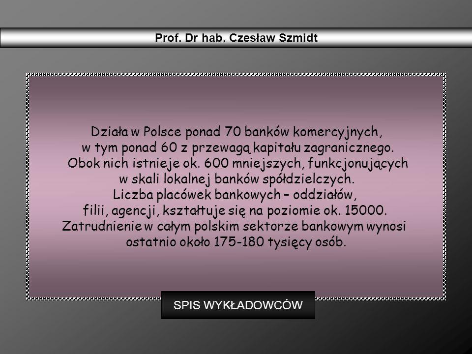 Działa w Polsce ponad 70 banków komercyjnych, w tym ponad 60 z przewagą kapitału zagranicznego. Obok nich istnieje ok. 600 mniejszych, funkcjonujących