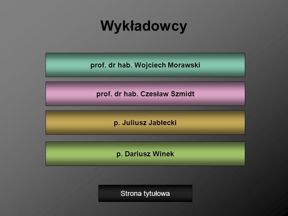 Wykładowcy prof. dr hab. Wojciech Morawski p. Dariusz Winek prof. dr hab. Czesław Szmidt p. Juliusz Jabłecki Strona tytułowa