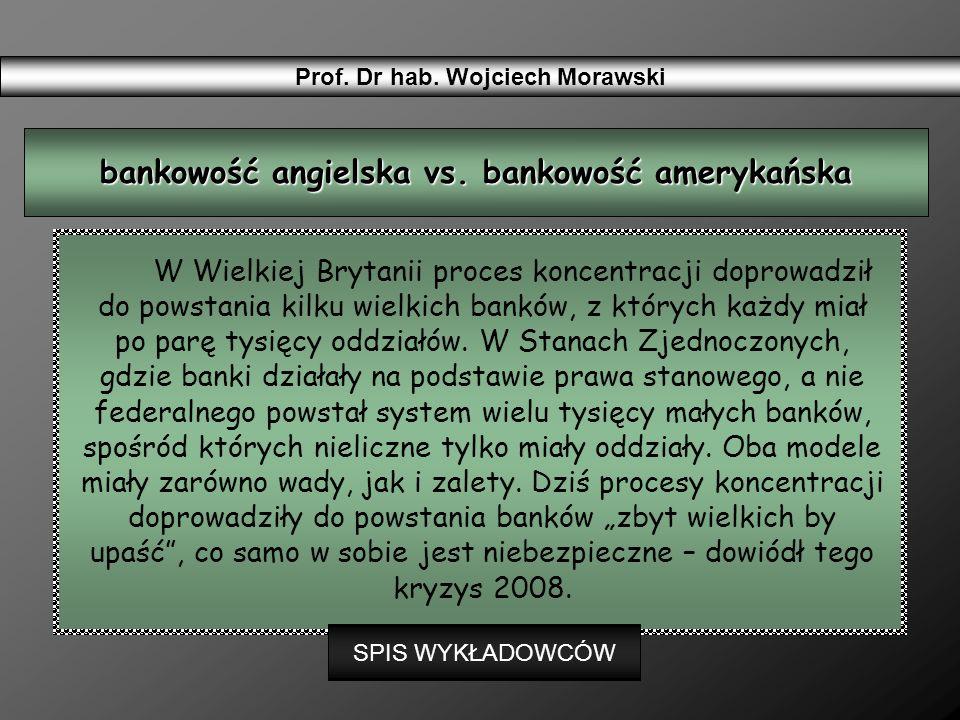 W Wielkiej Brytanii proces koncentracji doprowadził do powstania kilku wielkich banków, z których każdy miał po parę tysięcy oddziałów. W Stanach Zjed