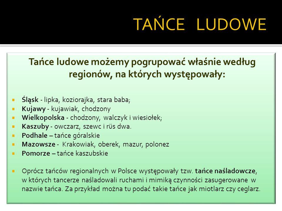 KRAKOWIACY - najliczniejsza grupa etnograficzna Małopolski TANIEC - W Małopolsce spotykamy najczęściej krakowiaka, a także przeniesioną z Czech polkę.