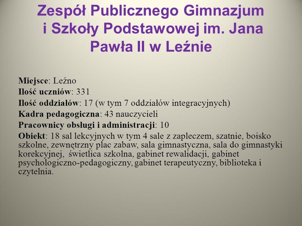 Zespół Publicznego Gimnazjum i Szkoły Podstawowej im. Jana Pawła II w Leźnie Miejsce: Leźno Ilość uczniów: 331 Ilość oddziałów: 17 (w tym 7 oddziałów