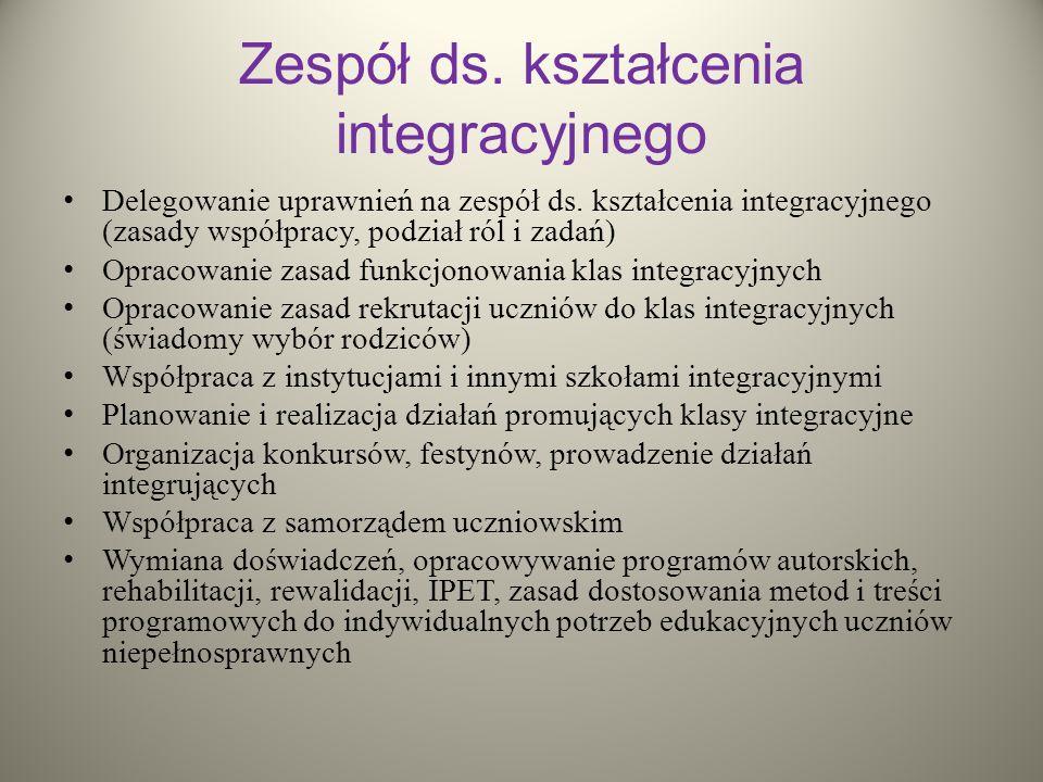 Zespół ds. kształcenia integracyjnego Delegowanie uprawnień na zespół ds. kształcenia integracyjnego (zasady współpracy, podział ról i zadań) Opracowa