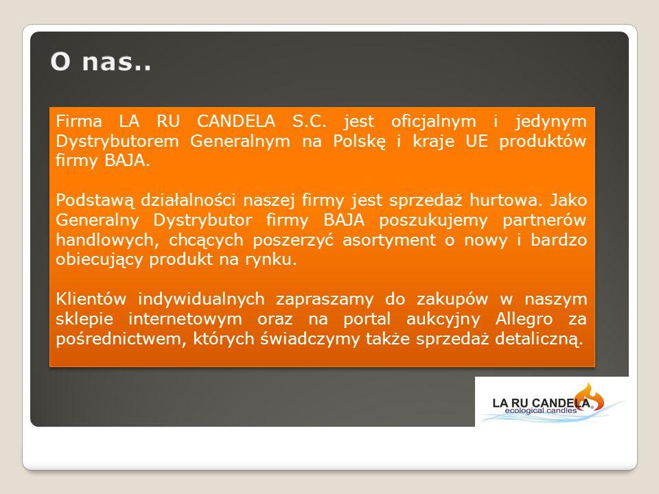 Firma LA RU CANDELA S.C. jest oficjalnym i jedynym Dystrybutorem Generalnym na Polskę i kraje UE produktów firmy BAJA. Podstawą działalności naszej fi