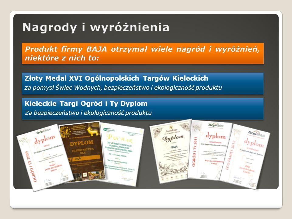 Złoty Medal XVI Ogólnopolskich Targów Kieleckich za pomysł Świec Wodnych, bezpieczeństwo i ekologiczność produktu Złoty Medal XVI Ogólnopolskich Targó
