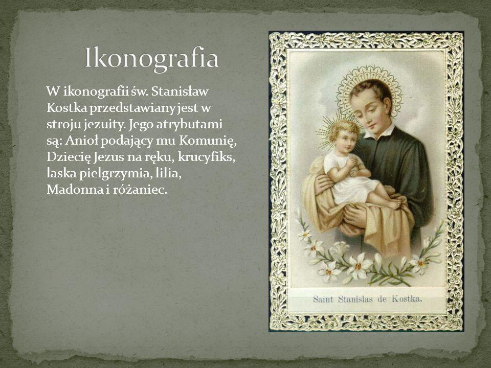 W ikonografii św. Stanisław Kostka przedstawiany jest w stroju jezuity. Jego atrybutami są: Anioł podający mu Komunię, Dziecię Jezus na ręku, krucyfik