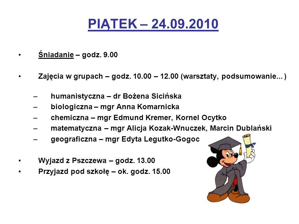 PIĄTEK – 24.09.2010 Śniadanie – godz. 9.00 Zajęcia w grupach – godz. 10.00 – 12.00 (warsztaty, podsumowanie... ) –humanistyczna – dr Bożena Sicińska –