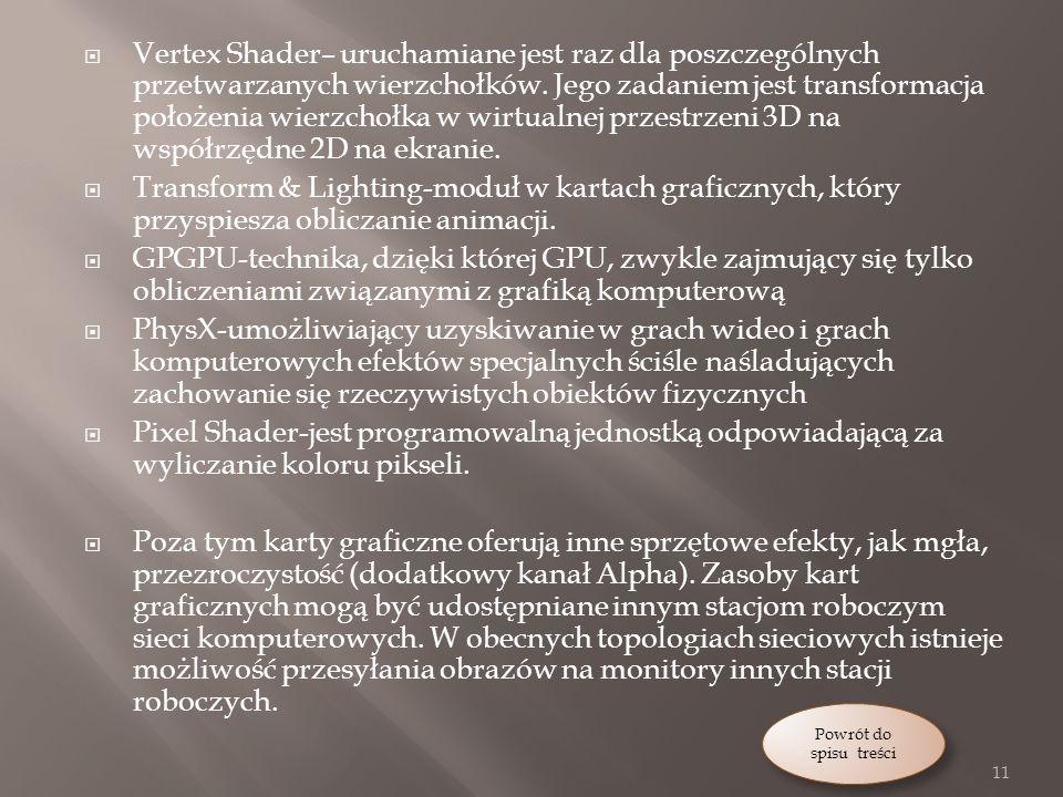 Vertex Shader– uruchamiane jest raz dla poszczególnych przetwarzanych wierzchołków.