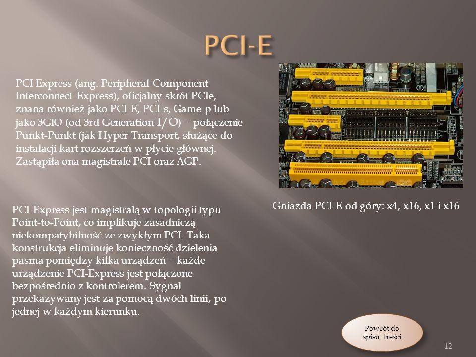 Gniazda PCI-E od góry: x4, x16, x1 i x16 PCI Express (ang.