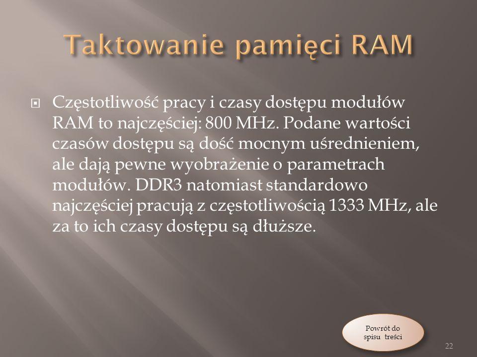 Częstotliwość pracy i czasy dostępu modułów RAM to najczęściej: 800 MHz.