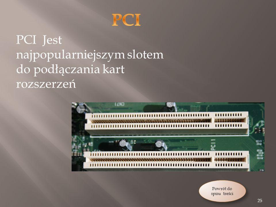 25 Powrót do spisu treści Powrót do spisu treści PCI Jest najpopularniejszym slotem do podłączania kart rozszerzeń