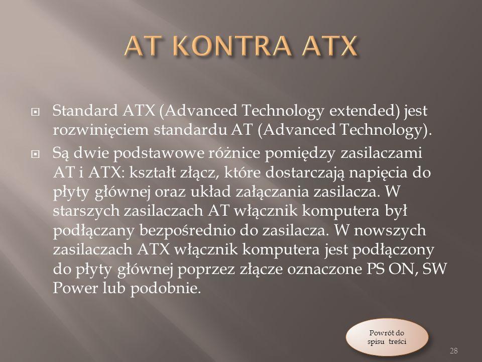 Standard ATX (Advanced Technology extended) jest rozwinięciem standardu AT (Advanced Technology).