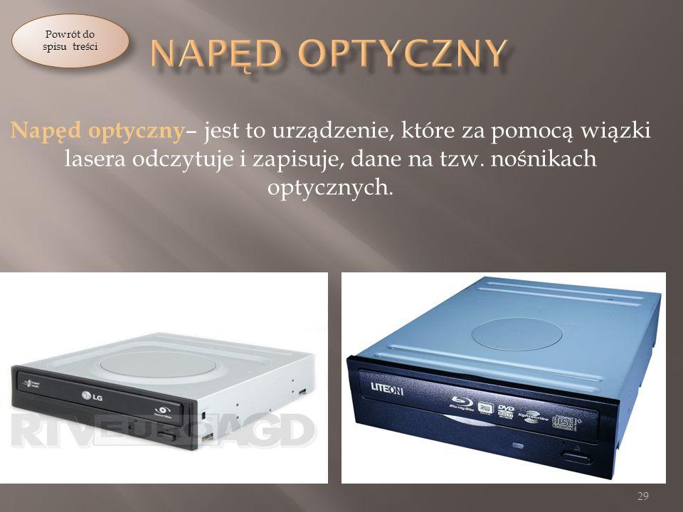 Napęd optyczny – jest to urządzenie, które za pomocą wiązki lasera odczytuje i zapisuje, dane na tzw.