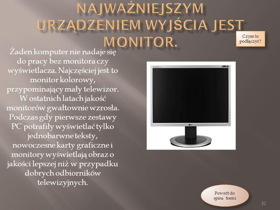 Żaden komputer nie nadaje się do pracy bez monitora czy wyświetlacza.