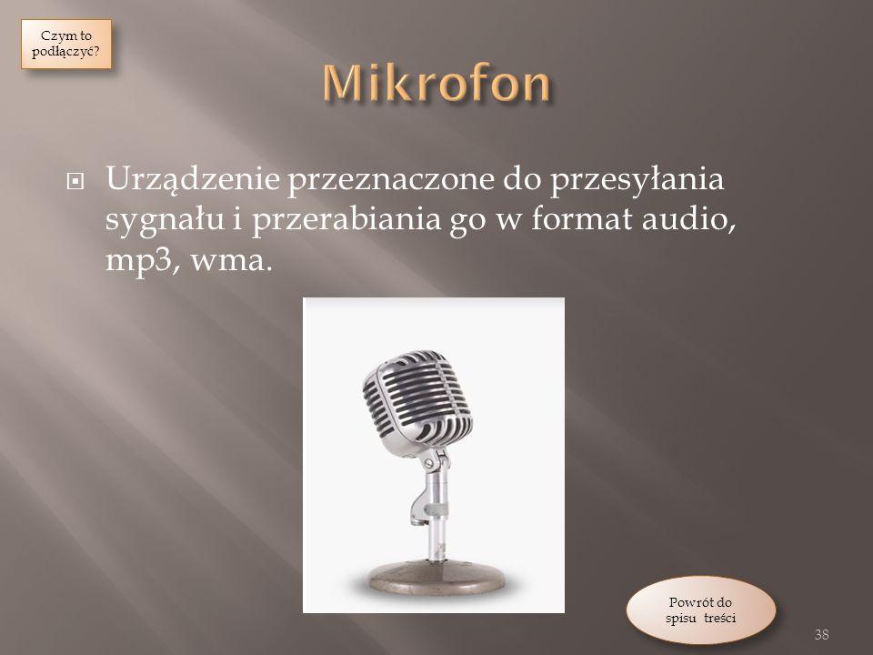 Urządzenie przeznaczone do przesyłania sygnału i przerabiania go w format audio, mp3, wma.