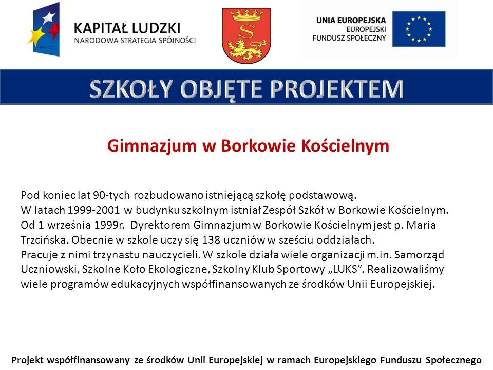 Projekt współfinansowany ze środków Unii Europejskiej w ramach Europejskiego Funduszu Społecznego Gimnazjum w Borkowie Kościelnym Pod koniec lat 90-tych rozbudowano istniejącą szkołę podstawową.