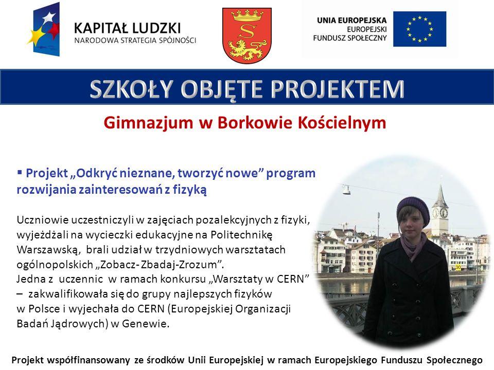 Projekt współfinansowany ze środków Unii Europejskiej w ramach Europejskiego Funduszu Społecznego Gimnazjum w Borkowie Kościelnym Projekt Odkryć nieznane, tworzyć nowe program rozwijania zainteresowań z fizyką Uczniowie uczestniczyli w zajęciach pozalekcyjnych z fizyki, wyjeżdżali na wycieczki edukacyjne na Politechnikę Warszawską, brali udział w trzydniowych warsztatach ogólnopolskich Zobacz- Zbadaj-Zrozum.
