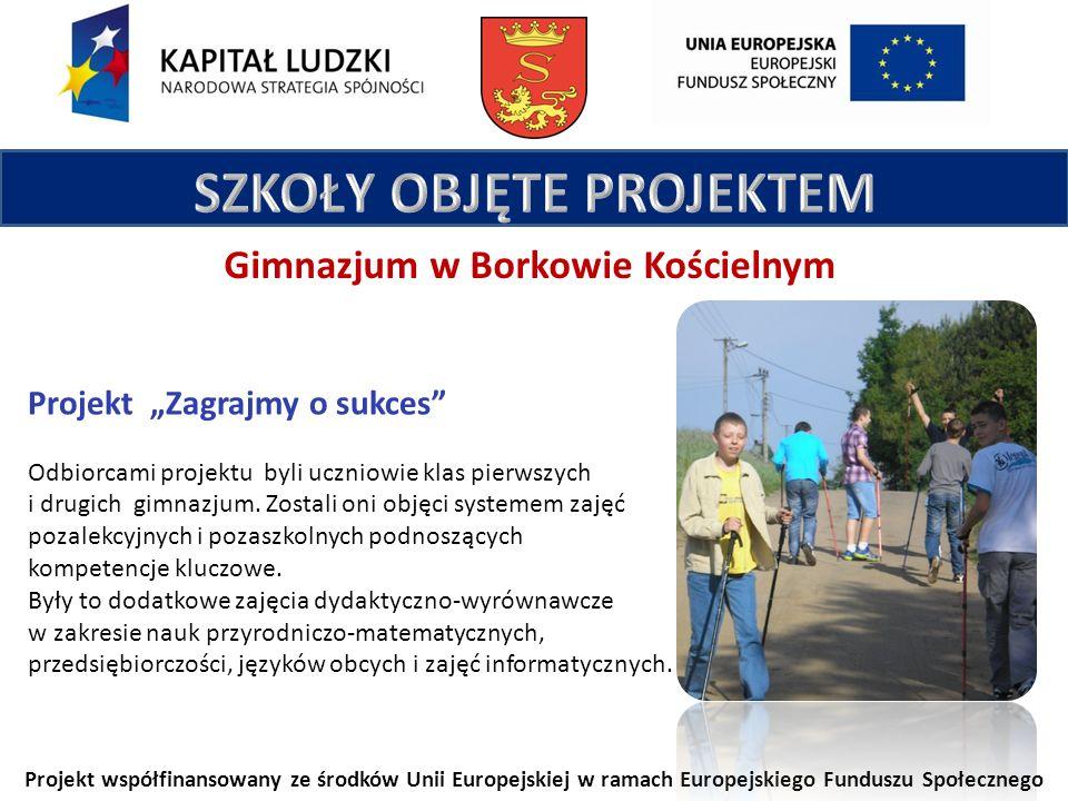 Projekt współfinansowany ze środków Unii Europejskiej w ramach Europejskiego Funduszu Społecznego Gimnazjum w Borkowie Kościelnym Projekt Zagrajmy o sukces Odbiorcami projektu byli uczniowie klas pierwszych i drugich gimnazjum.