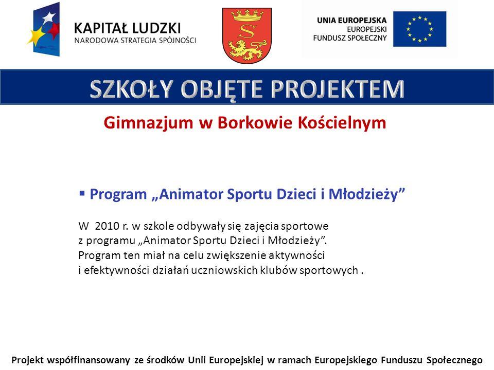 Projekt współfinansowany ze środków Unii Europejskiej w ramach Europejskiego Funduszu Społecznego Gimnazjum w Borkowie Kościelnym Program Animator Sportu Dzieci i Młodzieży W 2010 r.