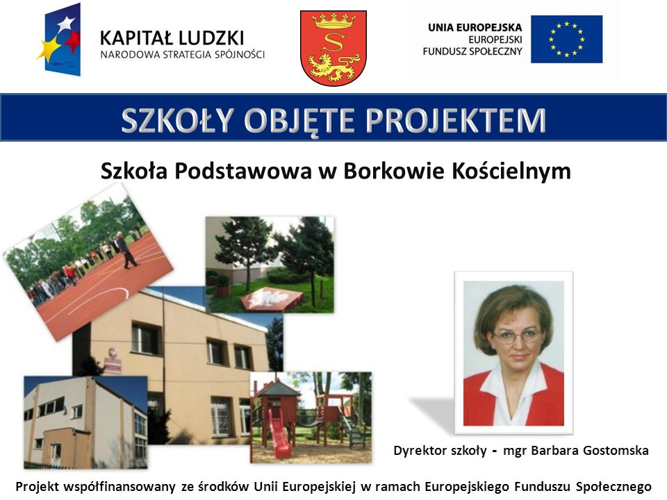 Projekt współfinansowany ze środków Unii Europejskiej w ramach Europejskiego Funduszu Społecznego Szkoła Podstawowa w Borkowie Kościelnym Dyrektor szkoły - mgr Barbara Gostomska