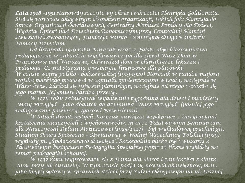 Lata 1918 –1931 stanowi ł y szczytowy okres twórczo ś ci Henryka Goldszmita. Sta ł si ę wówczas aktywnym cz ł onkiem organizacji, takich jak: Komisja
