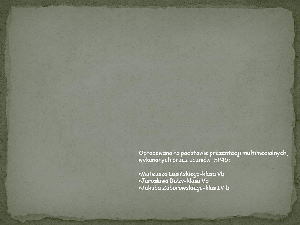 Opracowano na podstawie prezentacji multimedialnych, wykonanych przez uczniów SP45: Mateusza Łasińskiego-klasa Vb Jarosława Bełzy-klasa Vb Jakuba Zabo