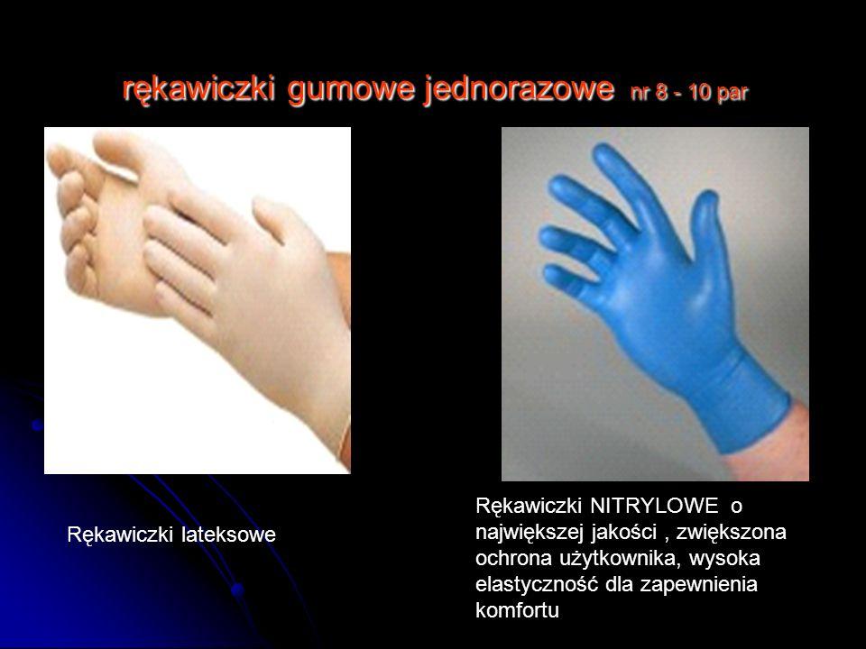 rękawiczki gumowe jednorazowe nr 8 - 10 par Rękawiczki NITRYLOWE o największej jakości, zwiększona ochrona użytkownika, wysoka elastyczność dla zapewn