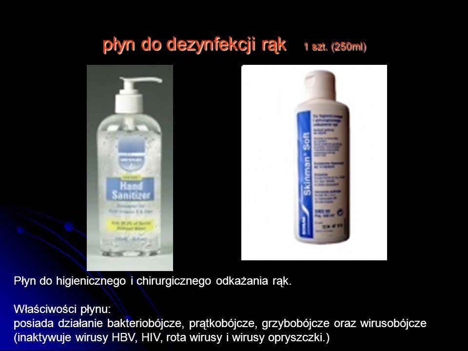 płyn do dezynfekcji rąk 1 szt. (250ml) Płyn do higienicznego i chirurgicznego odkażania rąk. Właściwości płynu: posiada działanie bakteriobójcze, prąt
