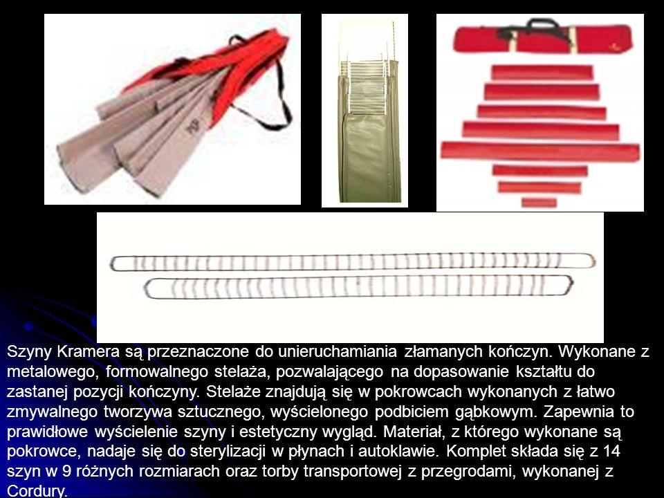 Szyny Kramera są przeznaczone do unieruchamiania złamanych kończyn. Wykonane z metalowego, formowalnego stelaża, pozwalającego na dopasowanie kształtu
