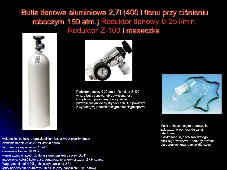Butla tlenowa aluminiowa 2,7l (400 l tlenu przy ciśnieniu roboczym 150 atm.) i maseczka Butla tlenowa aluminiowa 2,7l (400 l tlenu przy ciśnieniu robo