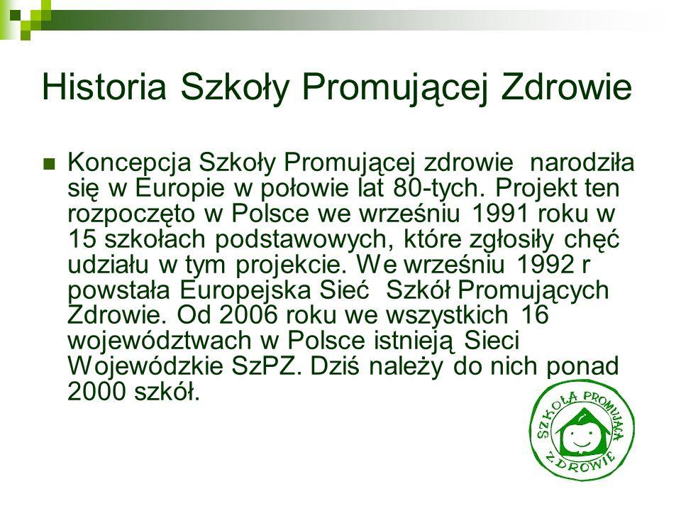 Historia Szkoły Promującej Zdrowie Koncepcja Szkoły Promującej zdrowie narodziła się w Europie w połowie lat 80-tych. Projekt ten rozpoczęto w Polsce