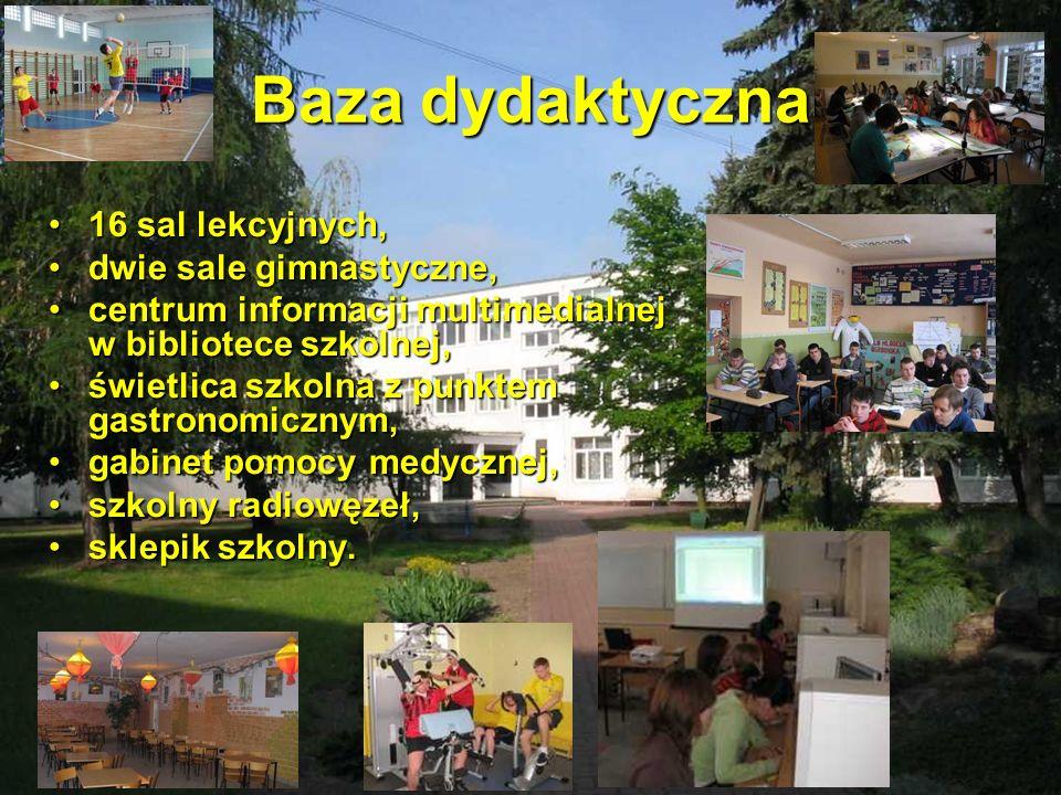 Baza dydaktyczna 16 sal lekcyjnych,16 sal lekcyjnych, dwie sale gimnastyczne,dwie sale gimnastyczne, centrum informacji multimedialnej w bibliotece sz