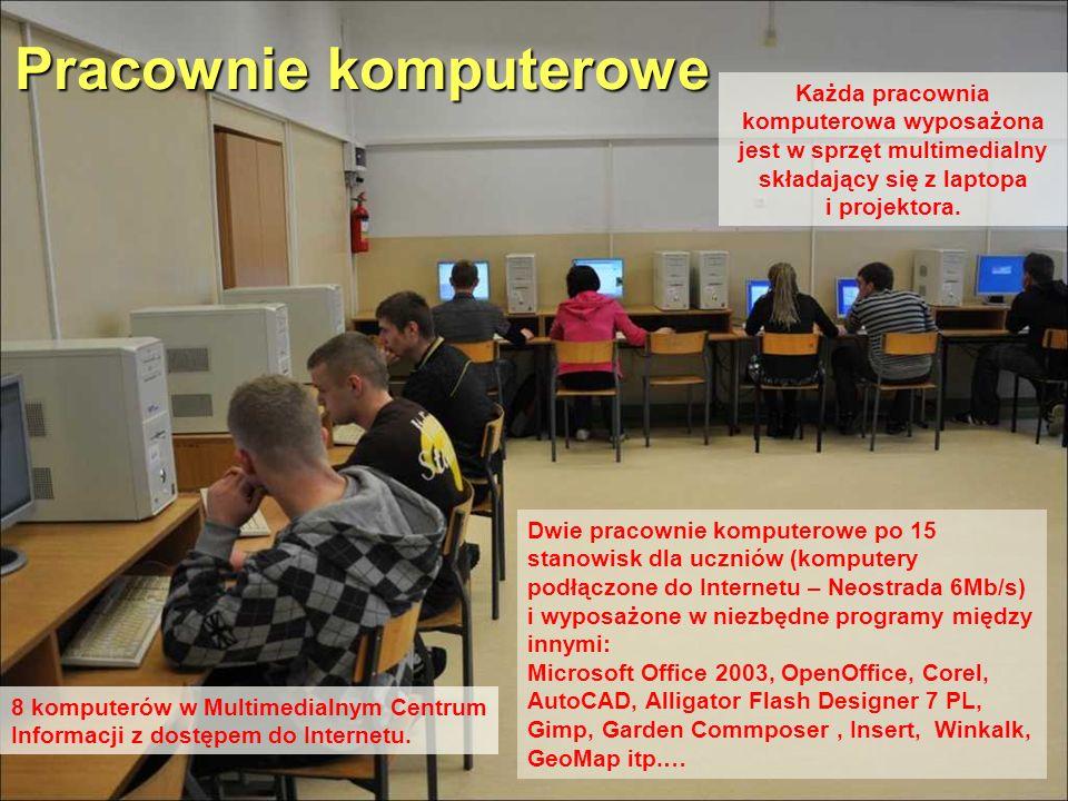 Pracownie komputerowe Dwie pracownie komputerowe po 15 stanowisk dla uczniów (komputery podłączone do Internetu – Neostrada 6Mb/s) i wyposażone w niez