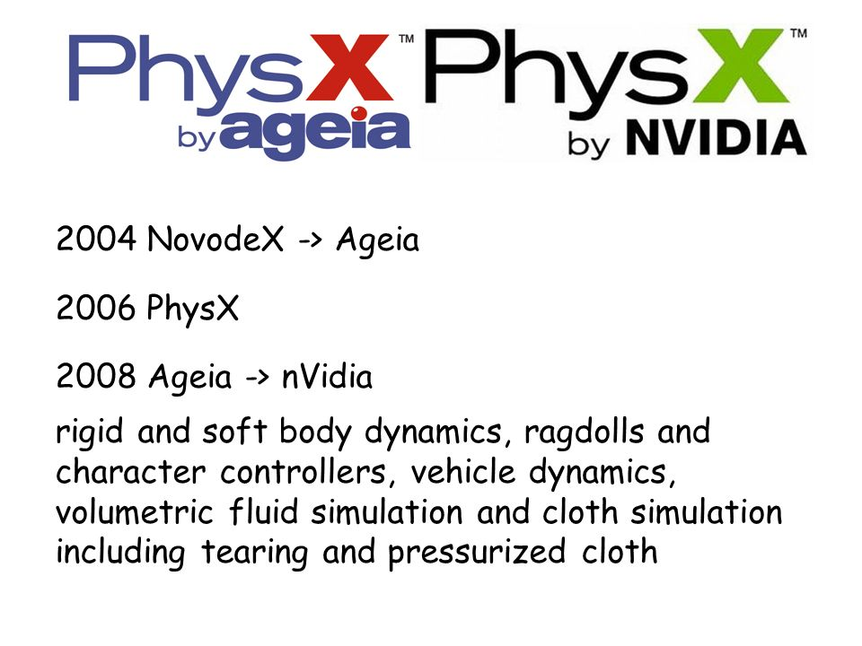 2004 NovodeX -> Ageia 2006 PhysX 2008 Ageia -> nVidia rigid and soft body dynamics, ragdolls and character controllers, vehicle dynamics, volumetric f