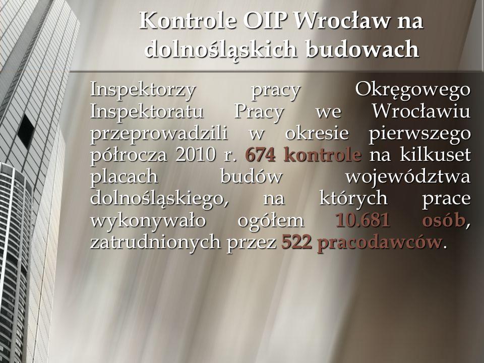 Inspektorzy pracy Okręgowego Inspektoratu Pracy we Wrocławiu przeprowadzili w okresie pierwszego półrocza 2010 r. 674 kontrole na kilkuset placach bud