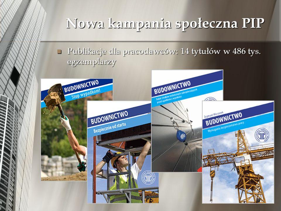 Nowa kampania społeczna PIP Publikacje dla pracodawców: 14 tytułów w 486 tys. egzemplarzy Publikacje dla pracodawców: 14 tytułów w 486 tys. egzemplarz