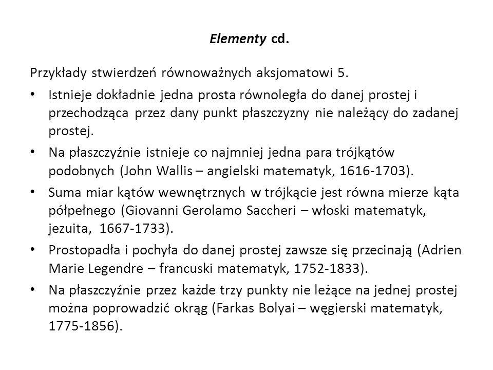 Elementy cd. Przykłady stwierdzeń równoważnych aksjomatowi 5. Istnieje dokładnie jedna prosta równoległa do danej prostej i przechodząca przez dany pu