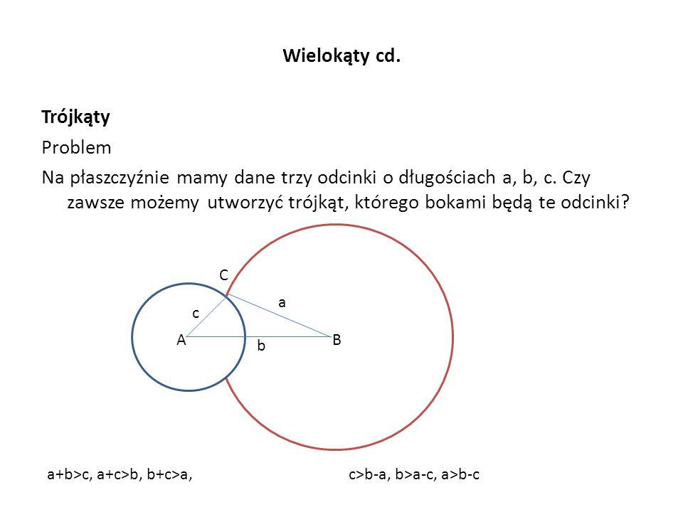 Wielokąty cd. Trójkąty Problem Na płaszczyźnie mamy dane trzy odcinki o długościach a, b, c. Czy zawsze możemy utworzyć trójkąt, którego bokami będą t