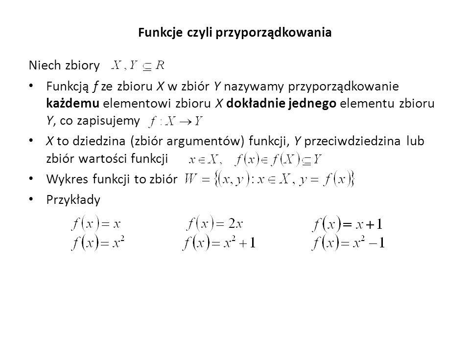 Funkcje czyli przyporządkowania Niech zbiory Funkcją f ze zbioru X w zbiór Y nazywamy przyporządkowanie każdemu elementowi zbioru X dokładnie jednego elementu zbioru Y, co zapisujemy X to dziedzina (zbiór argumentów) funkcji, Y przeciwdziedzina lub zbiór wartości funkcji Wykres funkcji to zbiór Przykłady