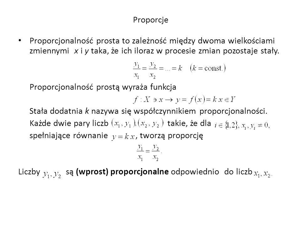 Proporcje Proporcjonalność prosta to zależność między dwoma wielkościami zmiennymi x i y taka, że ich iloraz w procesie zmian pozostaje stały. Proporc