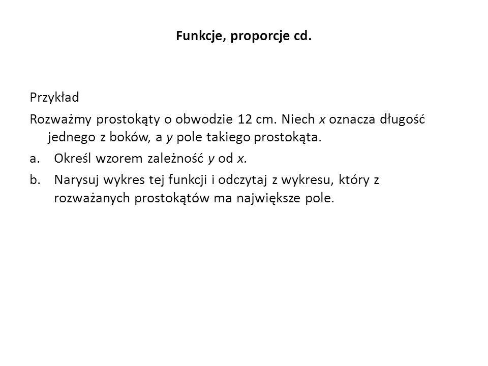 Funkcje, proporcje cd.Przykład Rozważmy prostokąty o obwodzie 12 cm.