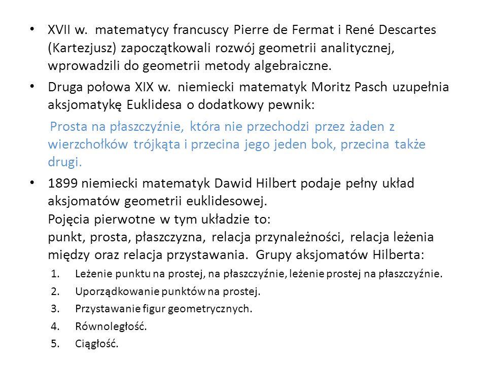 XVII w. matematycy francuscy Pierre de Fermat i René Descartes (Kartezjusz) zapoczątkowali rozwój geometrii analitycznej, wprowadzili do geometrii met