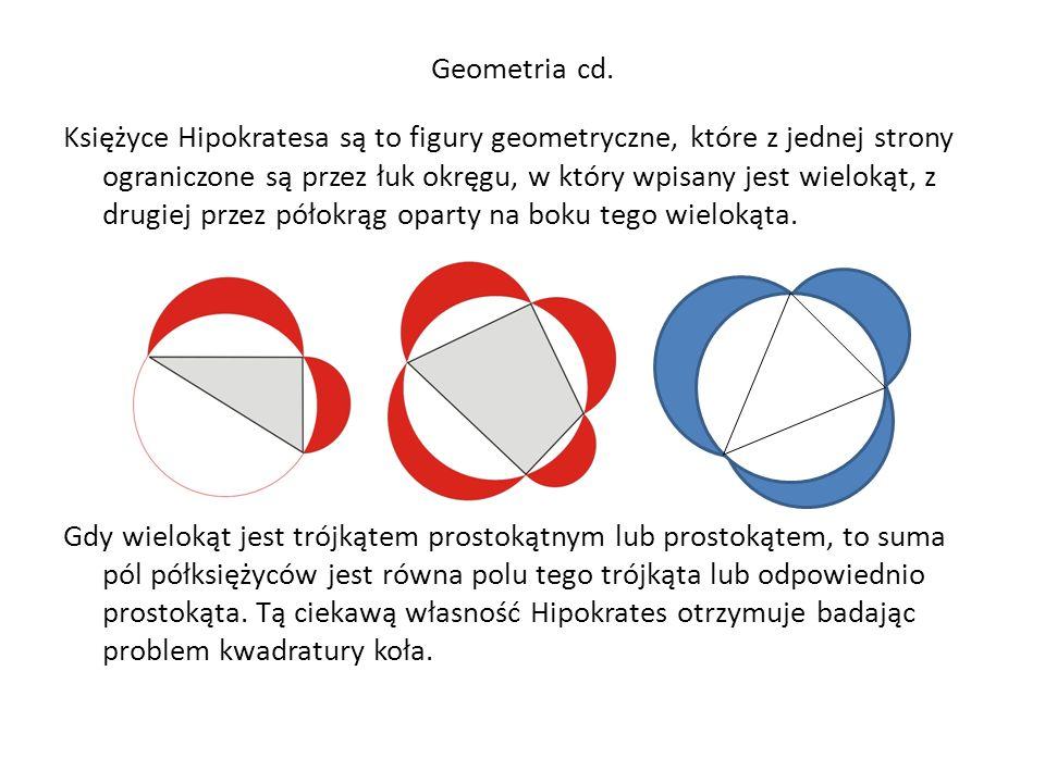 Geometria cd. Księżyce Hipokratesa są to figury geometryczne, które z jednej strony ograniczone są przez łuk okręgu, w który wpisany jest wielokąt, z