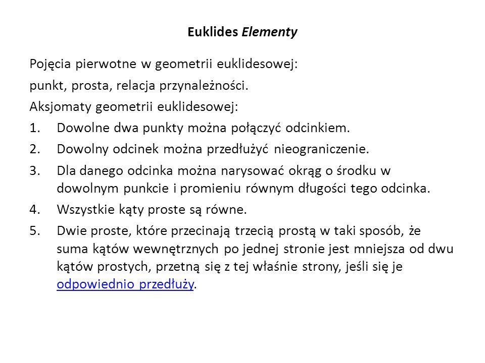 Euklides Elementy Pojęcia pierwotne w geometrii euklidesowej: punkt, prosta, relacja przynależności. Aksjomaty geometrii euklidesowej: 1.Dowolne dwa p