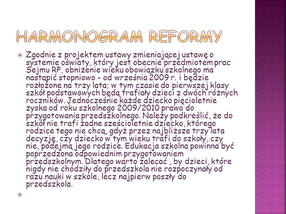 Zgodnie z projektem ustawy zmieniającej ustawę o systemie oświaty, który jest obecnie przedmiotem prac Sejmu RP, obniżenie wieku obowiązku szkolnego ma nastąpić stopniowo - od września 2009 r.