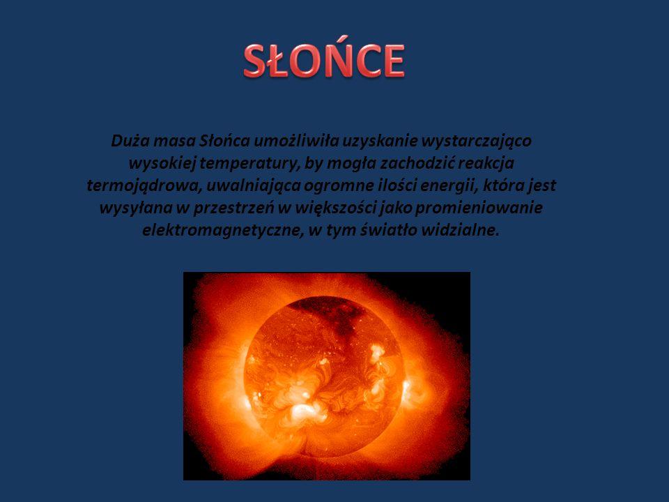 Duża masa Słońca umożliwiła uzyskanie wystarczająco wysokiej temperatury, by mogła zachodzić reakcja termojądrowa, uwalniająca ogromne ilości energii, która jest wysyłana w przestrzeń w większości jako promieniowanie elektromagnetyczne, w tym światło widzialne.