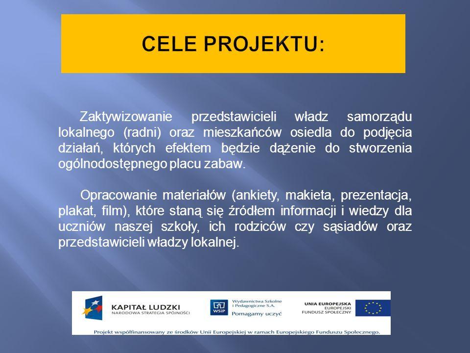 Zaktywizowanie przedstawicieli władz samorządu lokalnego (radni) oraz mieszkańców osiedla do podjęcia działań, których efektem będzie dążenie do stwor